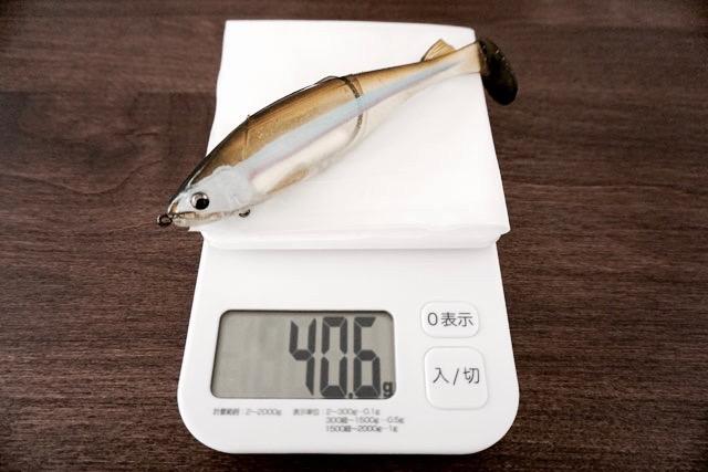 「ステルススイマー」ヘビーウェイトの自重は40.6g。